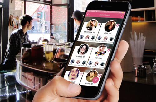 Ejemplo de visión desde el usuario de una aplicación para citas en un dispositivo móvil.